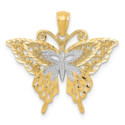 14kt Yellow Gold and Rhodium 3/4in Diamond-cut Butterfly Pendant