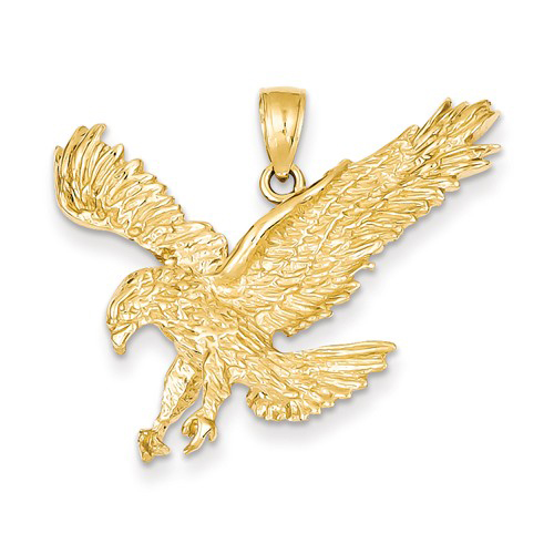 14kt Yellow Gold 1in Landing Eagle Pendant
