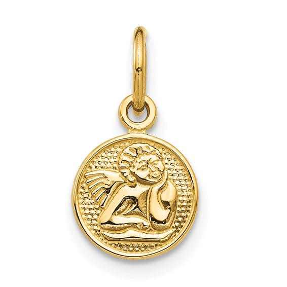 5/16in Small Angel Charm - 14kt Gold