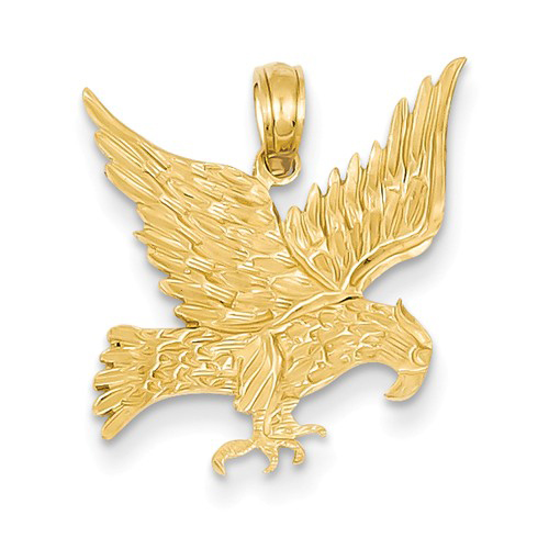 14kt Yellow Gold 3/4in Die Struck Eagle Pendant