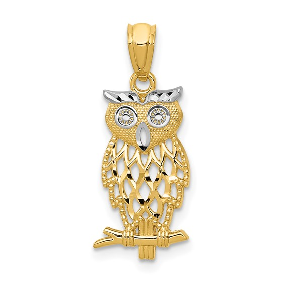 14kt Two-tone Gold 3/4in Owl Pendant