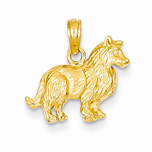 14kt Yellow Gold Collie Dog Pendant