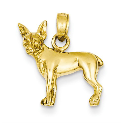 14kt Yellow Gold 1/2in Chihuahua Dog Pendant