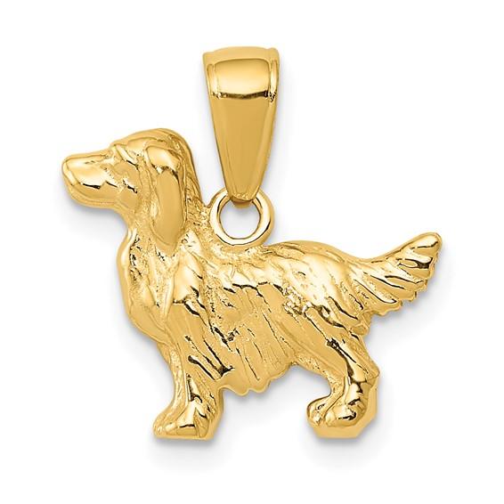 14kt Yellow Gold Springer Spaniel Dog Pendant