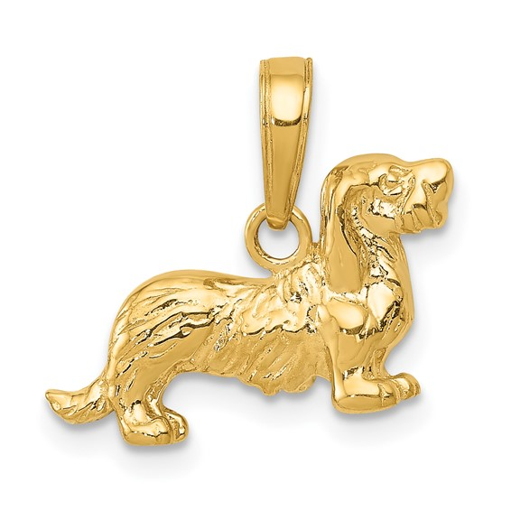 14kt Yellow Gold Long-haired Dachshund Pendant