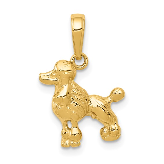 14kt Yellow Gold 1/2in Poodle Charm