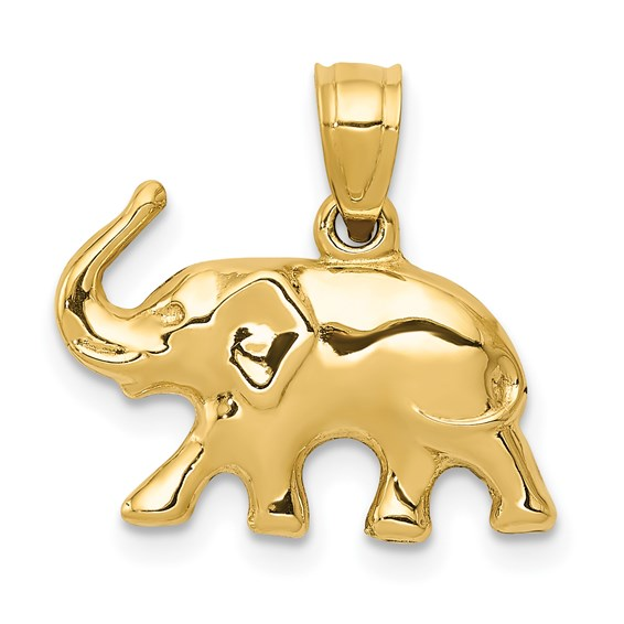14kt Yellow Gold 1/2in Elephant 3-D Charm