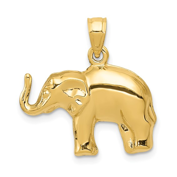 14kt Yellow Gold 1/2in 3-D Elephant Charm