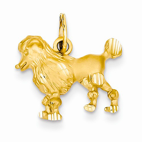 14kt Yellow Gold 1/2in Diamond-cut Poodle Charm