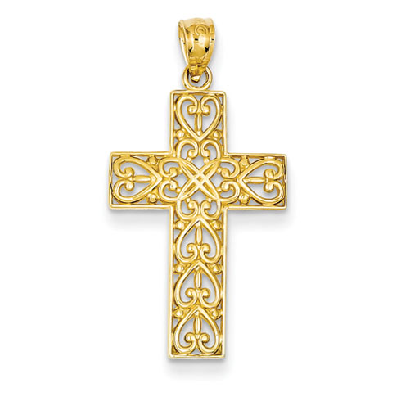 14kt Yellow Gold 15/16in Diamond-cut Filigree Cross