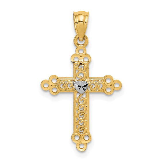 14k Yellow Gold & Rhodium 3/4in Budded Cross Pendant with Heart
