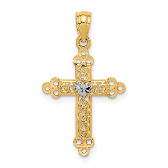 14kt Yellow Gold & Rhodium 13/16in Budded Cross Pendant