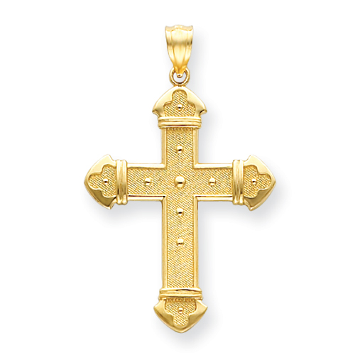 14kt Yellow Gold 1 1/4in Budded Cross with Bead Accents