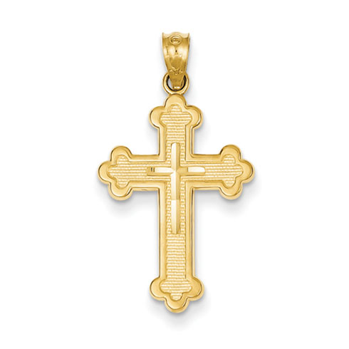 14k Yellow Gold Budded Cross Pendant with Open Back 7/8in