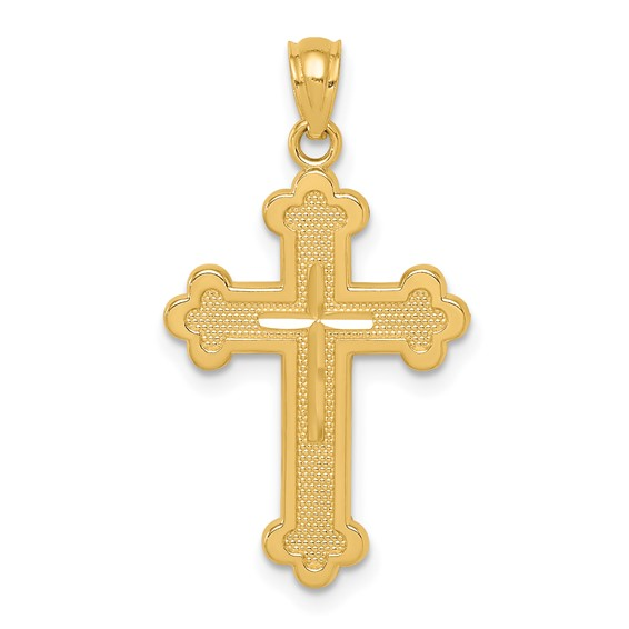14kt Yellow Gold 7/8in Open Back Budded Cross