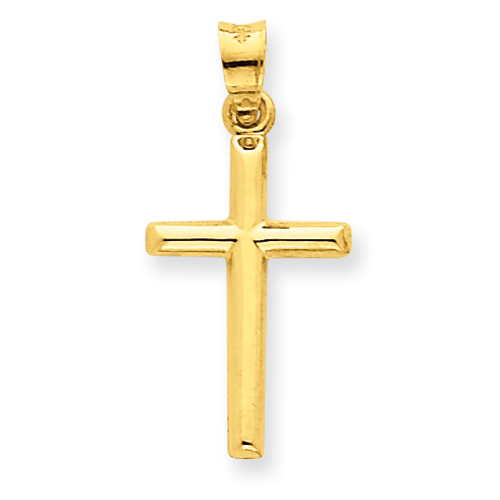 14kt Yellow Gold 3/4in Hollow Rounded Cross