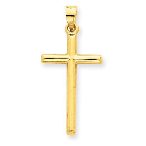 14kt Yellow Gold 15/16in Hollow Rounded Cross