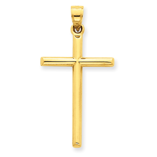 14kt Yellow Gold 1 3/16in Hollow Rounded Cross