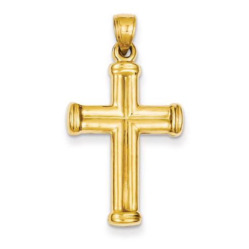 14k Yellow Gold 1in 3-D Hollow Cross Pendant with Domed Arms