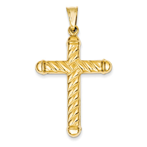 14k Yellow Gold 1 5/8in Hollow Cross Pendant