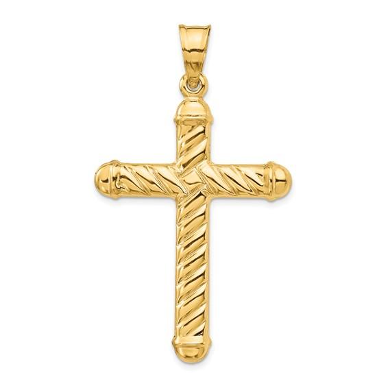14kt 1 5/8in Hollow Cross Pendant