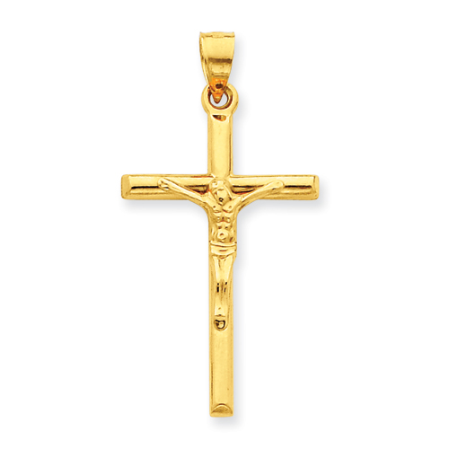 14kt Yellow Gold 1 3/16in Hollow Crucifix