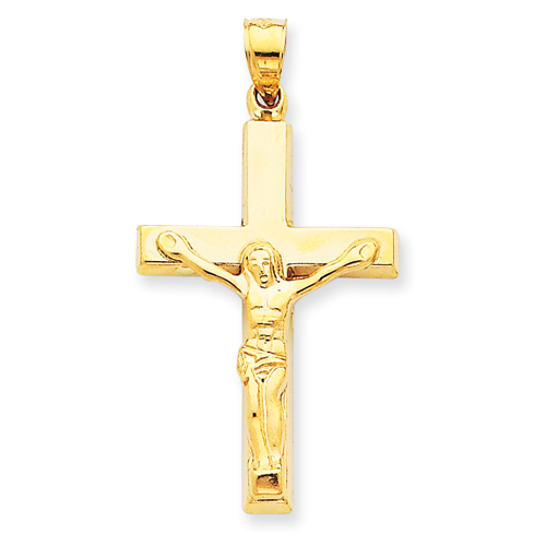 14kt Yellow Gold 1 1/4in Polished Hollow Crucifix Pendant