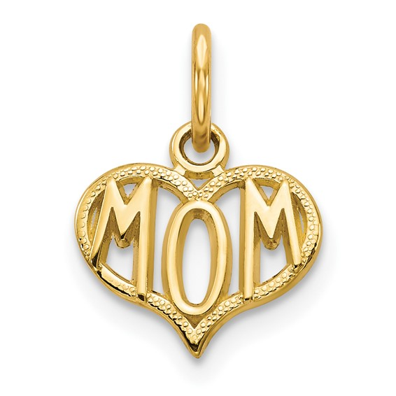 14kt Yellow Gold 3/8in MOM Heart Charm