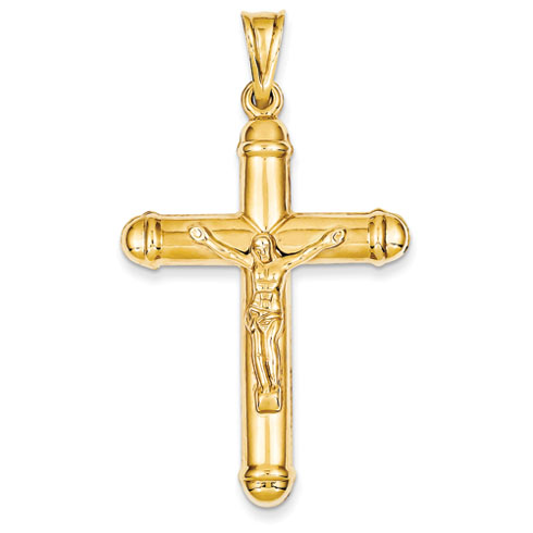 14kt Yellow Gold 1 3/4in Hollow Reversible Crucifix