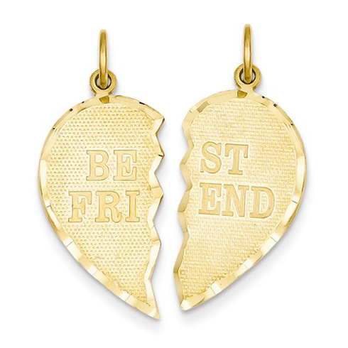 14kt Yellow Gold 7/8in Best Friends Break Apart Heart Pendant