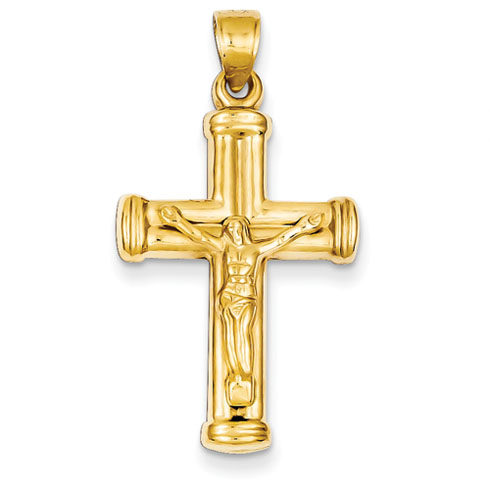 14kt Yellow Gold 1in Reversible Hollow Crucifix Cross Pendant