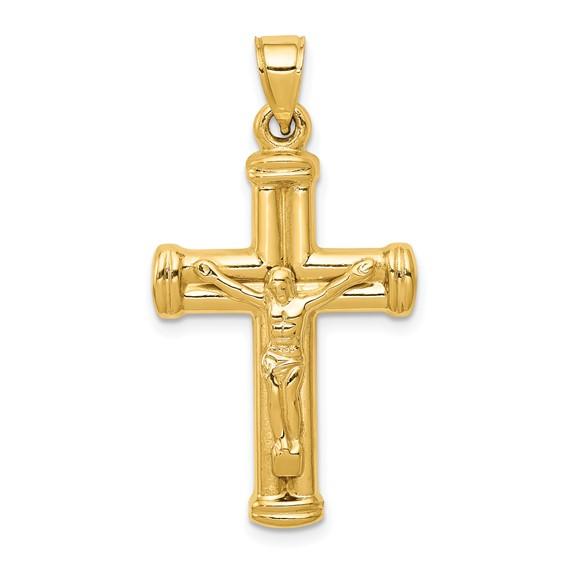 14kt Yellow Gold 1in Reversible Hollow Crucifix Cross Pendant