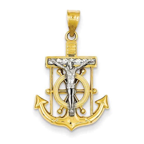 14kt Two-tone Gold 13/16in Diamond-cut Mariner's Cross Pendant