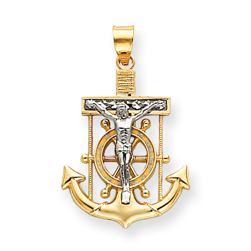 14kt Two-tone Gold 1in Diamond-cut Mariner's Cross Pendant