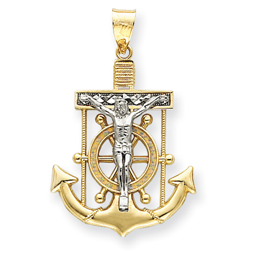 14kt Two-tone Gold 1 1/2in Diamond-cut Mariner's Cross