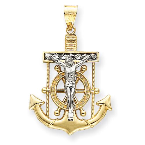 14kt Two-tone Gold 1 1/2in Diamond-cut Mariner's Cross