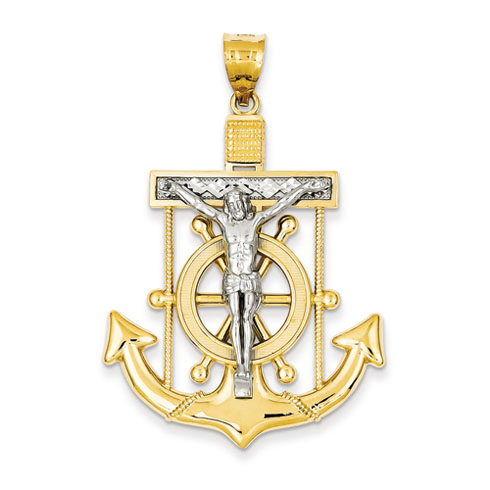 14kt Two-tone Gold 1 5/8in Diamond-cut Mariner's Cross Pendant