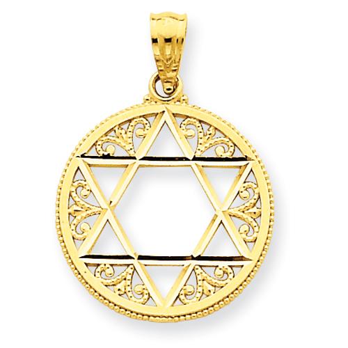 14kt Yellow Gold 5/8in Filigree Round Star of David Pendant