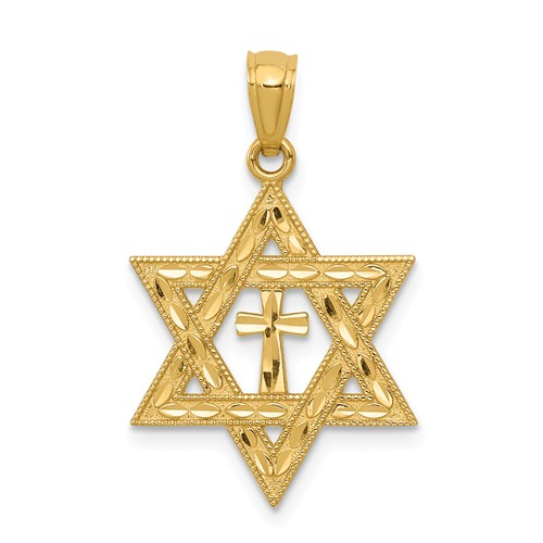 14kt Yellow Gold 3/4in Star of David with Cross Pendant