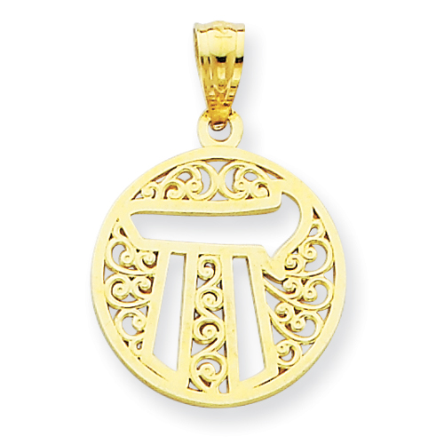 14k Yellow Gold 1/2in Filigree Circle Chai Pendant