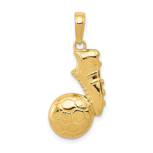 14k Yellow Gold Soccer Shoe and Ball Pendant