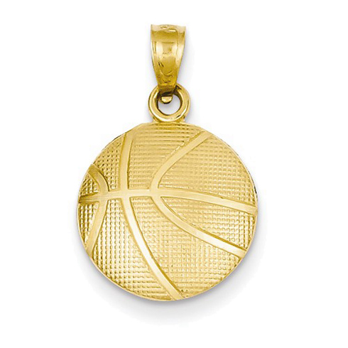 14kt Yellow Gold 1/2in Basketball Charm