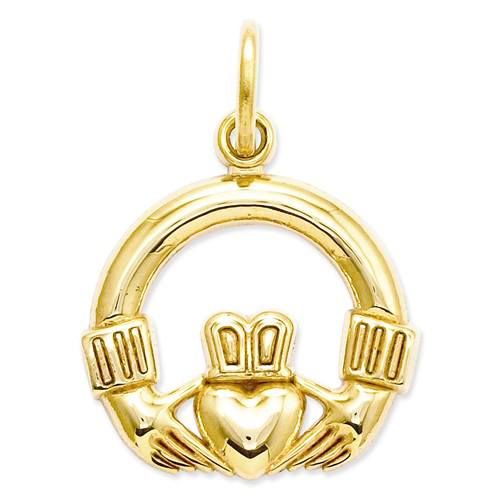 14kt Yellow Gold 1/2in Polished Claddagh Charm