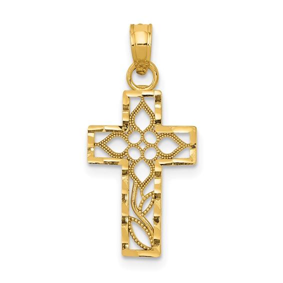 14kt Yellow Gold 5/8in Diamond-cut Filigree Cross Charm