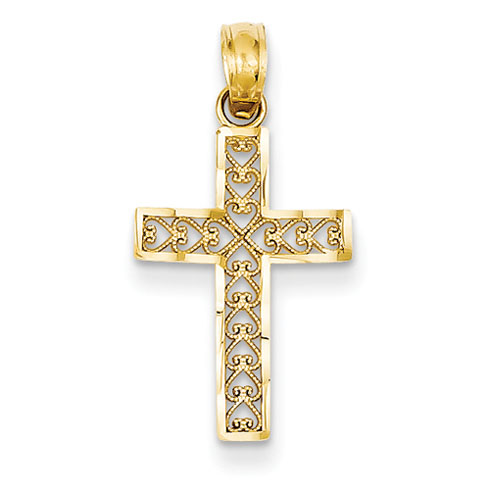 14kt 11/16in Diamond-cut Filigree Cross Pendant
