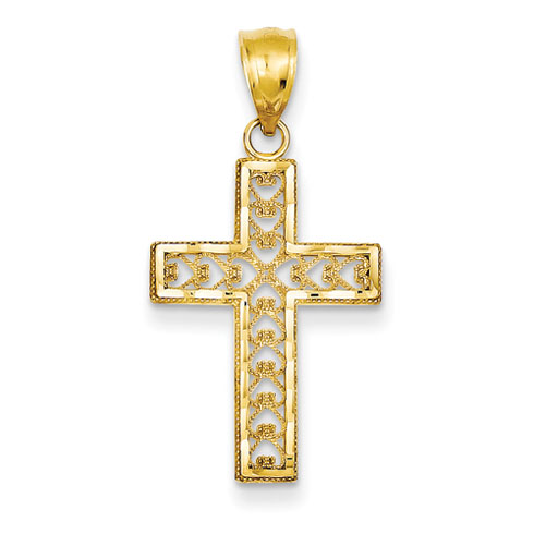 14kt Yellow Gold 7/8in Filigree Latin Cross Pendant