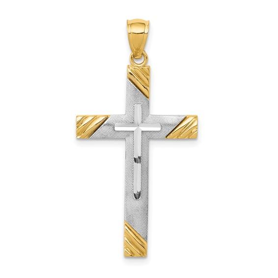 14kt Two-Tone 1 1/8in Diamond-cut Cross Pendant