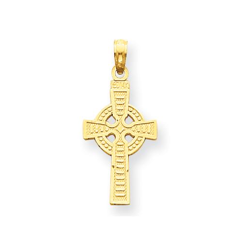 14kt Yellow Gold Reversible God is Love Celtic Cross 7/8in