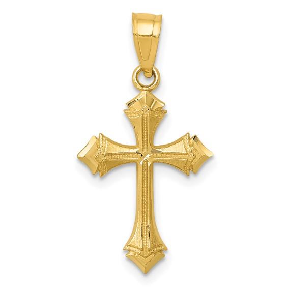 14kt Gold 11/16in Diamond-cut Passion Cross Charm