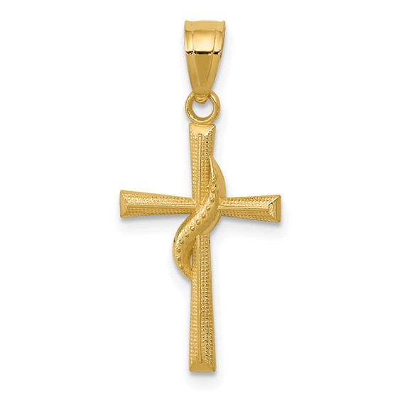 14kt Yellow Gold 11/16in Methodist Polished Cross